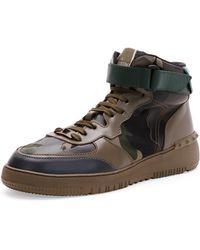 Valentino Rockstud Camo High-Top Sneaker - Lyst