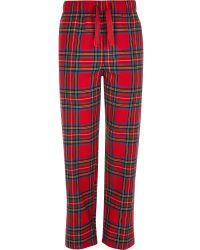 River Island | Red Tartan Drawstring Pyjama Bottoms | Lyst