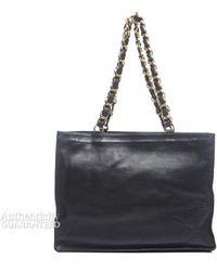 Chanel Preowned Black Lambskin Cc Xl Vintage Shopper Tote Bag - Lyst