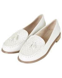 Topshop White Lisbon Loafers - Lyst