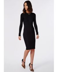 Missguided Ribbed Bodycon Midi Dress Black - Lyst