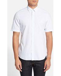 Burberry Brit 'Estes' Trim Fit Striped Seersucker Short Sleeve Sport Shirt blue - Lyst