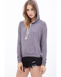 Forever 21 Striped Knit Drawstring Hoodie - Lyst