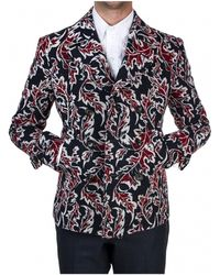 Thom Browne   Navy And Red Jacquard Peacoat   Lyst