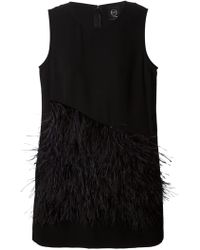 McQ by Alexander McQueen Front Asymmetric Feather Panel Dress - Lyst