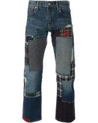 Junya Watanabe Patchwork Straight Leg Jeans - Lyst