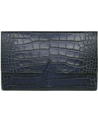 Vince Signature Collection Stamped Croc Medium Clutch - Blue