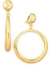 Jose & Maria Barrera Hammered Hoop Drop Clip Earrings - Lyst