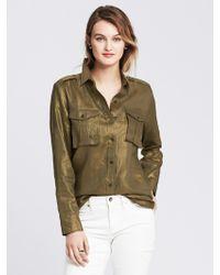 Banana Republic Heritage Metallic Linen Shirt - Lyst