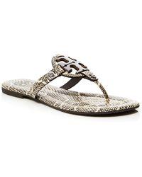 Tory Burch Flat Thong Logo Sandals - Miller 2 Cobra Print - Lyst