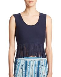 BCBGMAXAZRIA Jaleigh Fringe Cropped Top blue - Lyst