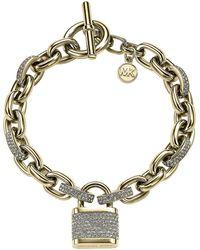 Michael Kors Gold Tone and Crystal Padlock Charm Bracelet - Lyst