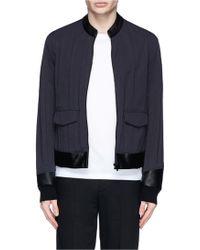 Maison Margiela Leather Collar Cotton Blend Jacket - Lyst