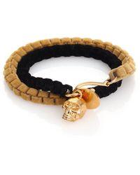 Alexander McQueen | Leather Double-Wrap Skull Bracelet | Lyst