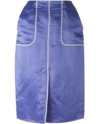 Lanvin Exposed Seam Straight Skirt - Lyst