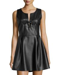 Madison Marcus - Faux-leather Bow-front Dress - Lyst