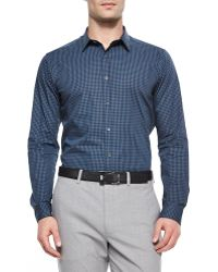 Theory Zach Ps Small-Check Stretch Shirt - Lyst
