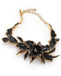 Oscar de la Renta Orchid Enamel Statement Necklace - Lyst