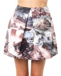 Carven Waveprint Pleated Skirt - Lyst