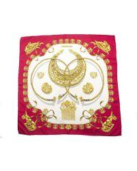 Hermes Pre-owned Red Les Cavaliers Dor Silk Scarf - Lyst