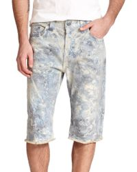 True Religion Dean Marble-Washed Jean Shorts blue - Lyst