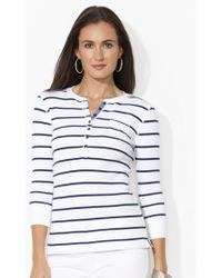 Ralph Lauren Striped Cotton Henley - Lyst