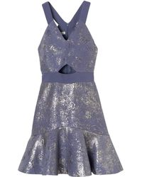 Rebecca Taylor Foil Halter Dress - Lyst