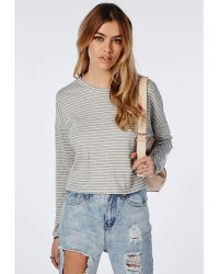 Missguided Long Sleeve Stripe Sweater Grey - Lyst