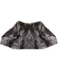 Alexander McQueen De-manta Fur-print Clutch Bag - Lyst