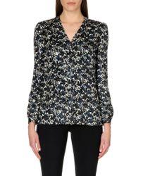 Tory Burch Caralyn Shimmering Floral Silk-blend Shirt - Lyst