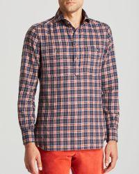 Eidos Work2 Plaid Flannel Half-Button Button Down Shirt - Regular Fit - Blue
