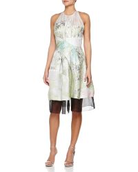 J. Mendel Textured Abstract-Print Halter Dress - Lyst