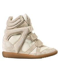 Etoile Isabel Marant Beige Leather 'Bekett' Sneakers With Concealed Wedge - Lyst