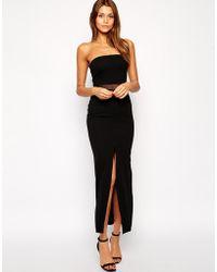 Tfnc Maxi Dress with Mesh Insert  Thigh Split - Lyst