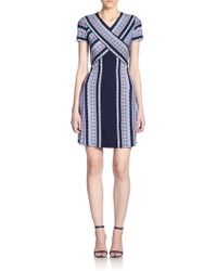 BCBGMAXAZRIA Jeanine Printed-Stripe Dress blue - Lyst