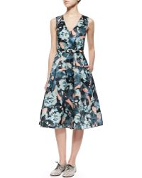 Erdem Floral-Print Fit-And-Flare Dress - Lyst