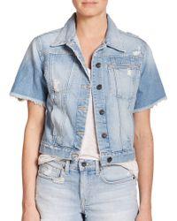 Genetic Denim Blondie Distressed Short-sleeve Denim Jacket - Blue