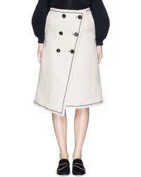 Victoria Beckham | Button Wrap Bonded Canvas Skirt | Lyst