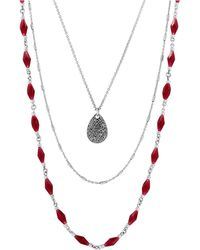 Lucky Brand Gifting Lucky Layers Red Jade Nested Necklace