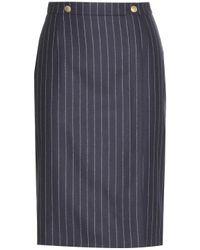 Alexander McQueen Pinstripe Wool Skirt - Lyst