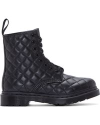 Dr. Martens Black Quilted Leather 8_eye Coralie Boots - Lyst