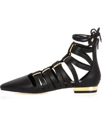 River Island Black Caged Lace-up Pointed Shoes