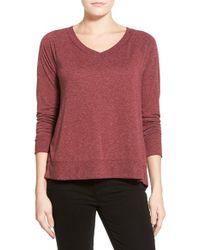 Halogen - Zip Back V-neck Sweatshirt - Lyst
