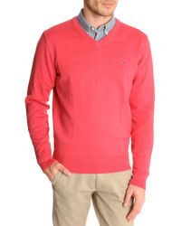 Tommy Hilfiger Pacific V-Neck Carmine Cotton Sweater - Lyst