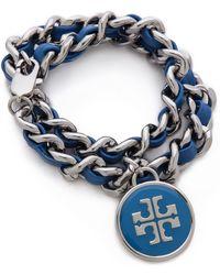 Tory Burch - Leather Chain Wrap Bracelet - Lyst