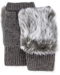 Adrienne Landau Rabbit-fur Knit Fingerless Gloves - Gray