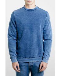 Topman Indigo Panel Crewneck Sweatshirt - Lyst