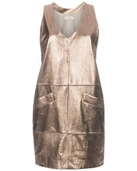 Paul Smith Metallic Gold Suede Dress - Lyst