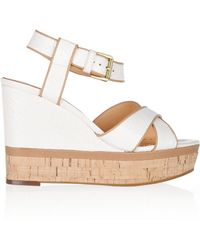 Ash Honey Leather Wedge Sandals - Lyst