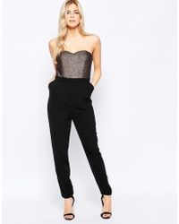 Girls On Film - Bandeau Jumpsuit With Metallic Top - Lyst